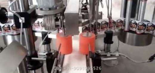 2 Side Label Pasting Machine for 5 liter Can, Jerry Can, Edible Oil Can, Lubricant Can