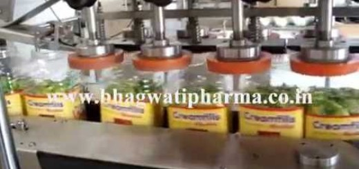 Automatic linear jar capping machine for candy jar, chocolate jar, wide mouth screw cap