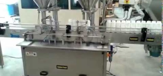 Double Head Powder Filling Line , Talcum powder filler , capper , labeler machine