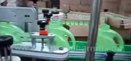Double side labeler machine for Jerry Can, Lube oil, Engine oil .wmv