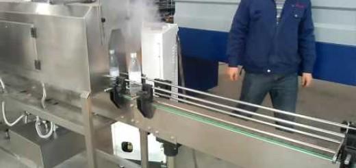 Bottle Steam Shrink Tunnel with Conveyor , semi auto Sleeve label machine
