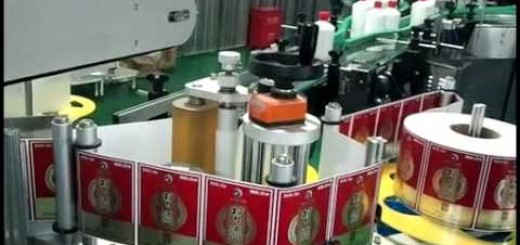 Round bottle front and back side labeling machine