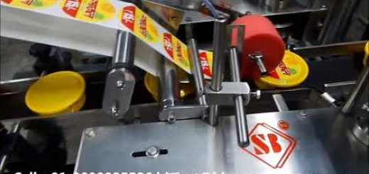 Top side sticker labeling machine for cake containers / boxes