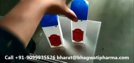 Talcum powder bottle double sided labeling machine